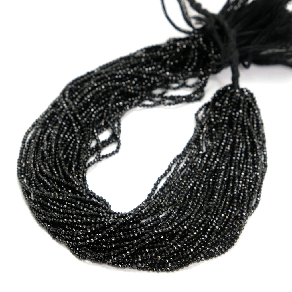 Black Spinel 2mm Faceted Rounds