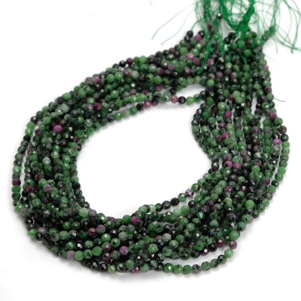 Ruby Zoisite 4mm Faceted Rounds