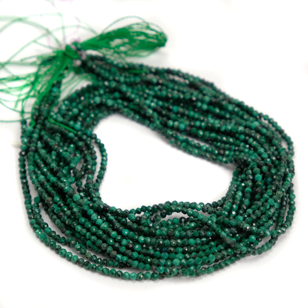 Malachite 2mm Faceted Rounds