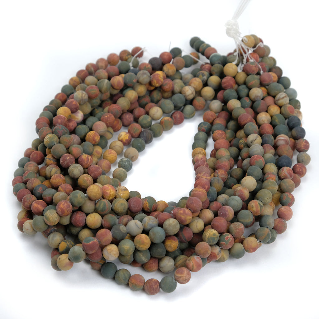 Fancy Jasper 8mm Smooth Rounds