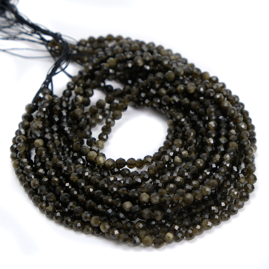 Golden Obsidian 4mm Faceted Rounds