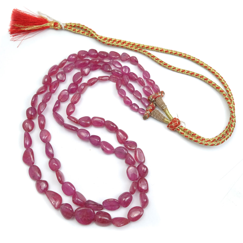 AAA Quality Indian Natural Rubies 2 STRAND NECKLACE LARGE SIZE