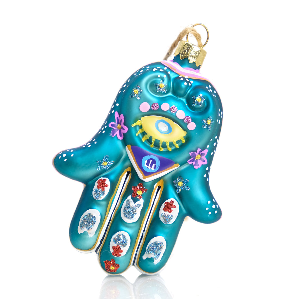 Hand of Fatima/Hamsa Glass Ornament, F