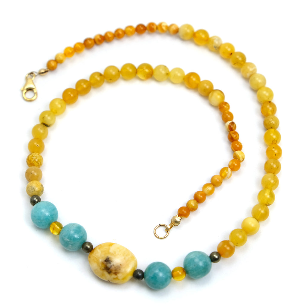Amber with Amazonite Necklace