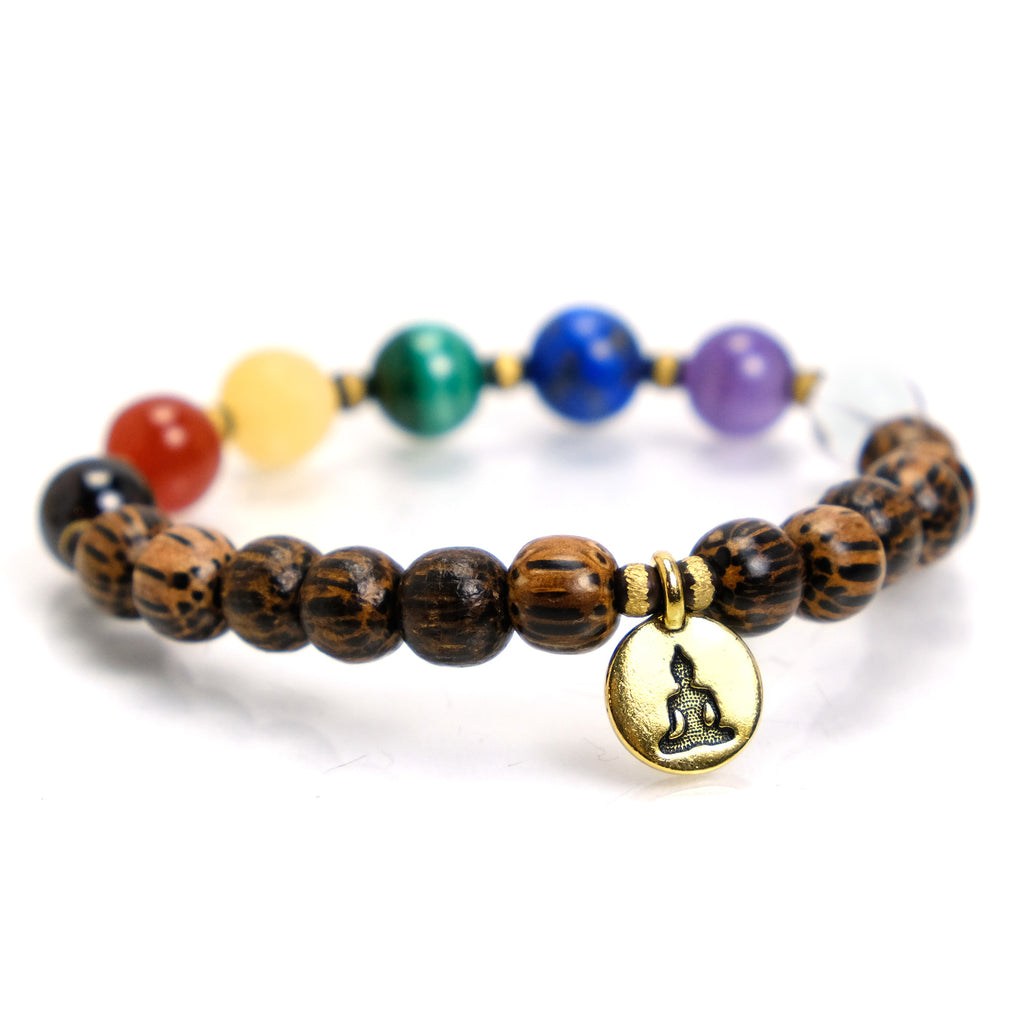 Semi-Precious Stone and Palmwood Chakra Stretch Bracelet