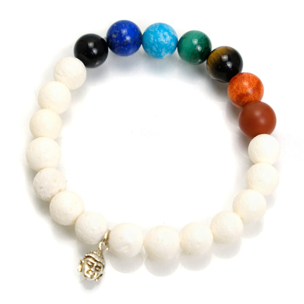 Semi-Precious Stone and White Coral Chakra Stretch Bracelet