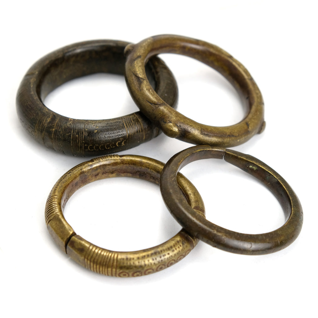 Dowry Wealth Currency Bangles from Nigeria set of Four Bangles