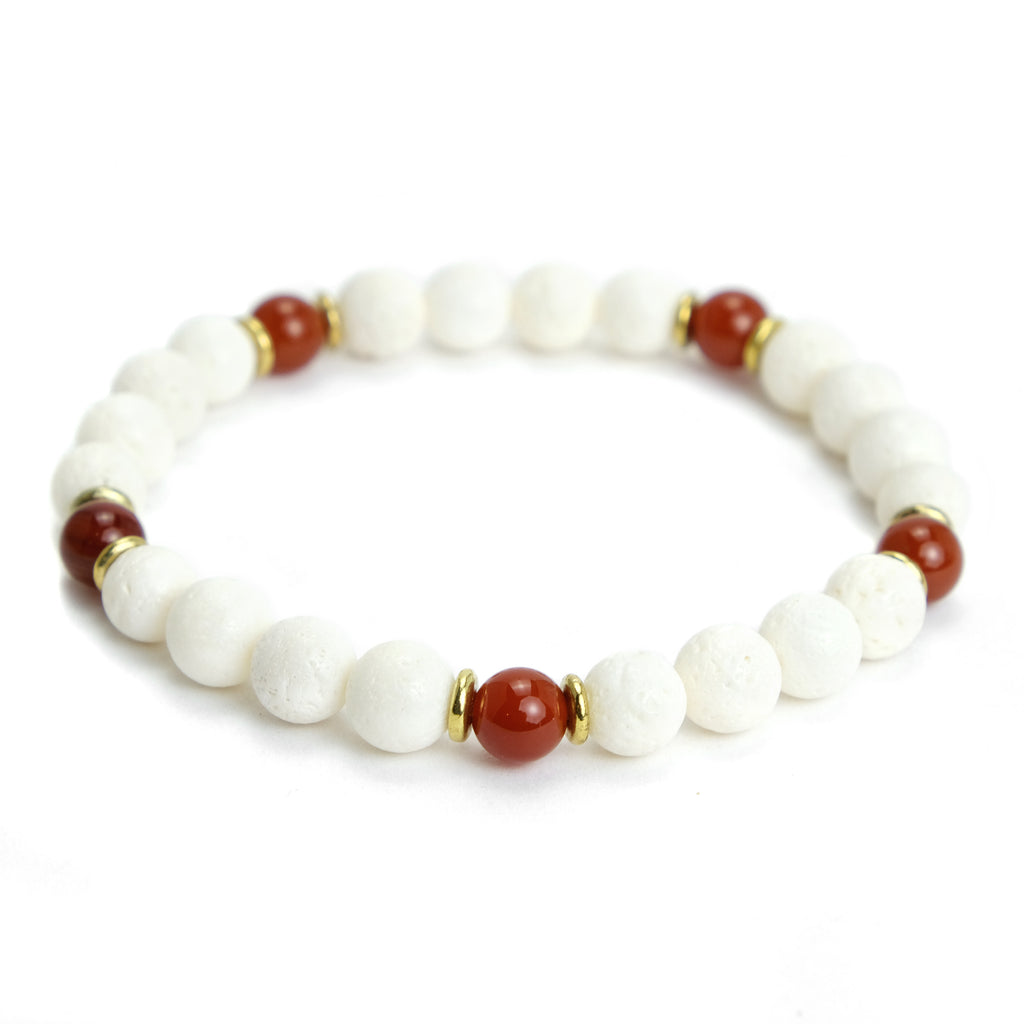 White Coral and Carnelian Stretch Bracelet
