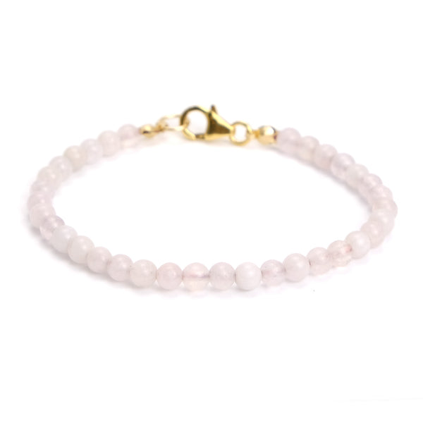 Rose Quartz 4mm Smooth Round Bracelet with Gold Filled Trigger Clasp