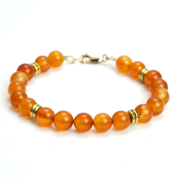 Carnelian Bracelet with Gold Filled Lobster Claw Clasp
