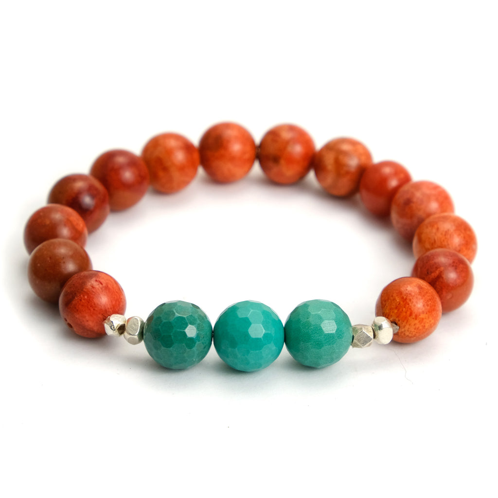 Coral and Chrysoprase Bracelet on Elastic Cord