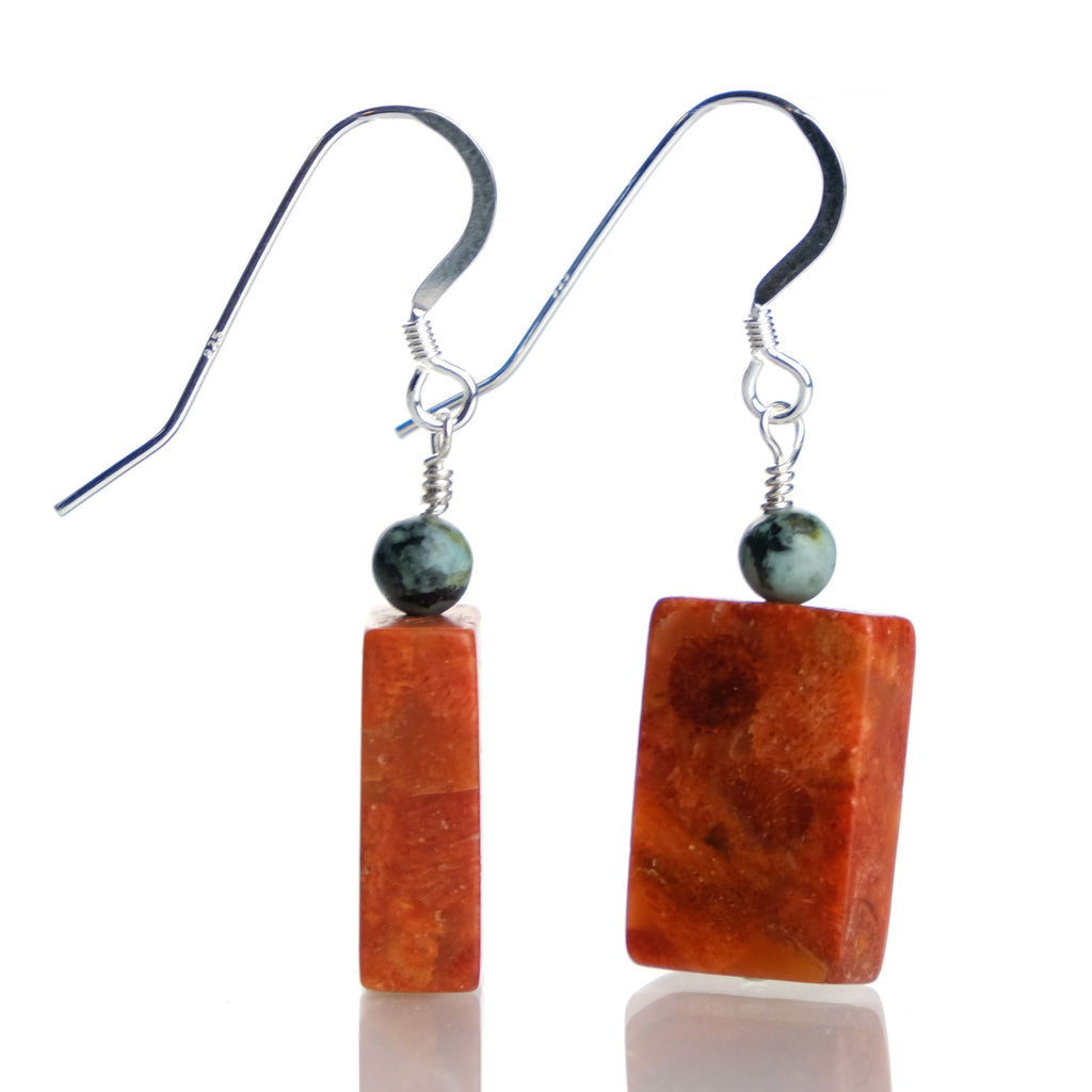 Coral and Turquoise Earrings with Sterling Silver French Ear Wires