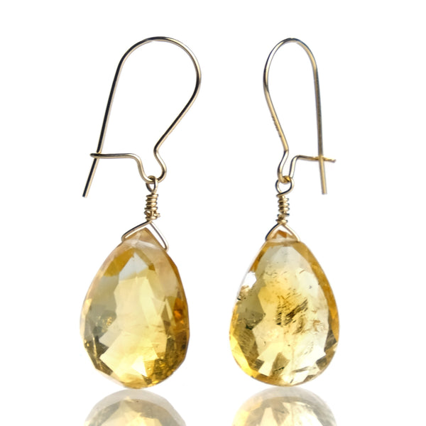 Citrine Earrings with Golf Filled Kidney Ear Wires