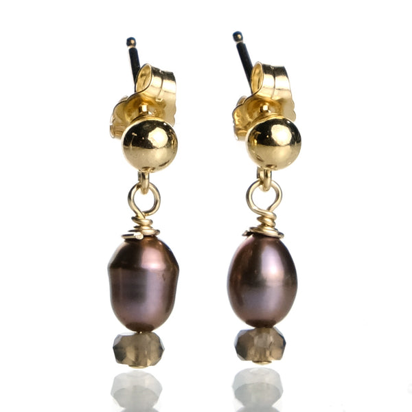 Fresh Water Pearl and Smokey Quartz with Gold Plated Ball Post Earrings