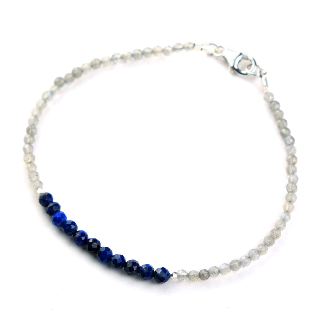 Lapis Lazuli and Labradorite Bracelet with Sterling Silver Trigger Clasp