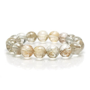 Silver Rutilated Quartz Stretch Bracelet 12mm, 14mm