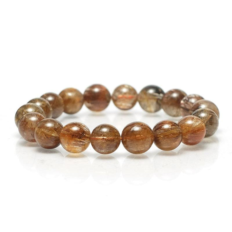 Red Copper Rutilated Quartz Stretch Bracelet 11mm,12mm,14mm