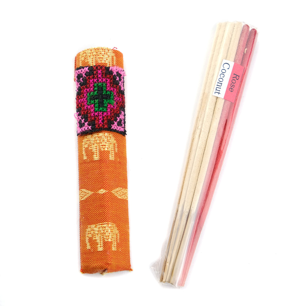 Short Incense with Handmade Batik Print Holder