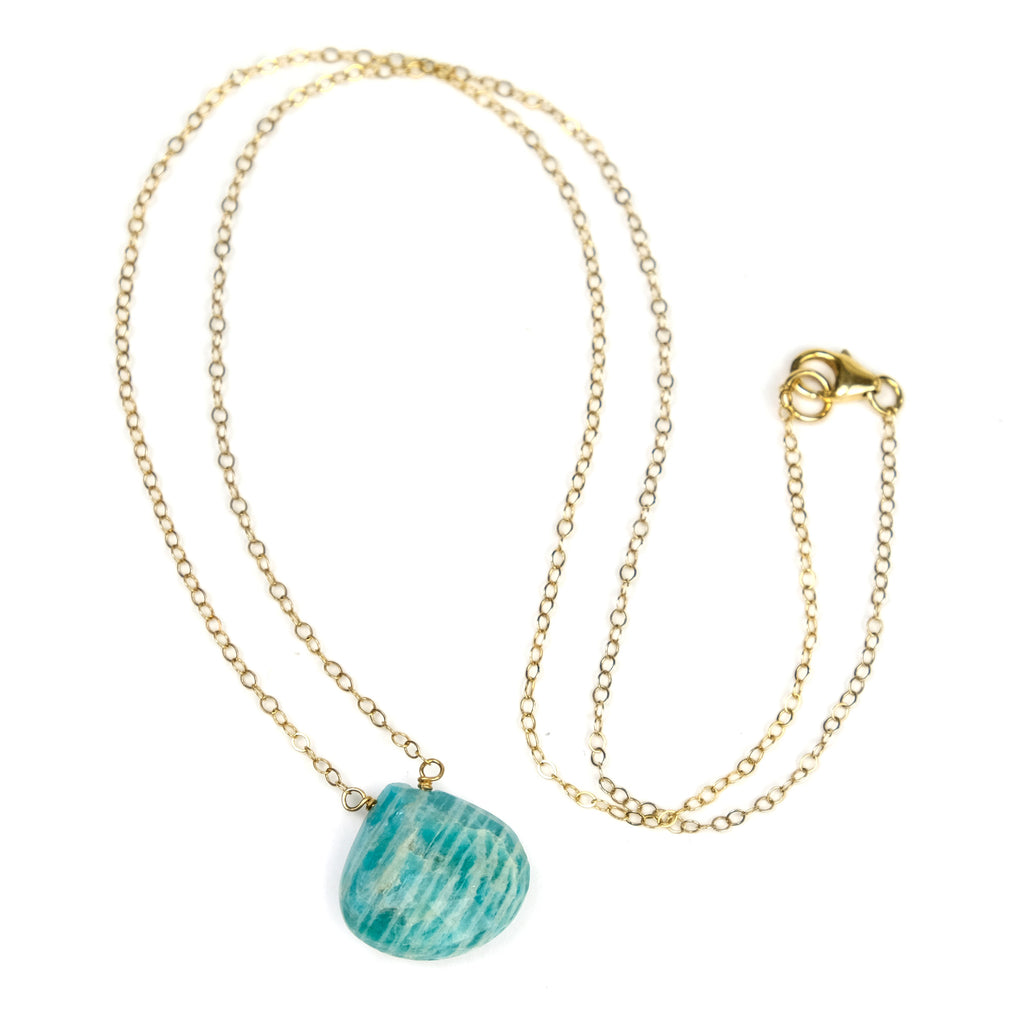 Amazonite Necklace On Gold Filled Chain With Gold Filled Trigger Clasp