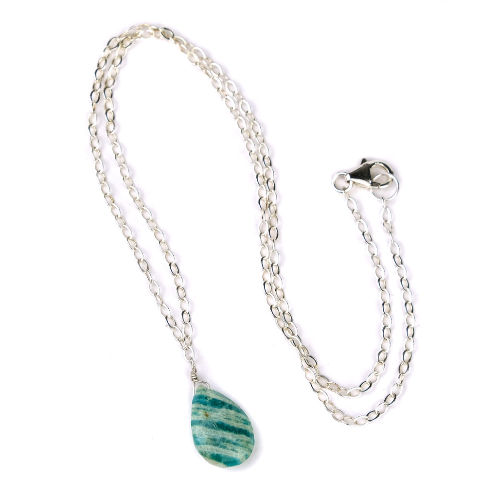 Amazonite Necklace on Sterling Silver Chain With Sterling Silver Trigger Clasp