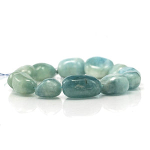 Aquamarine XL Tumbled Nugget Strand