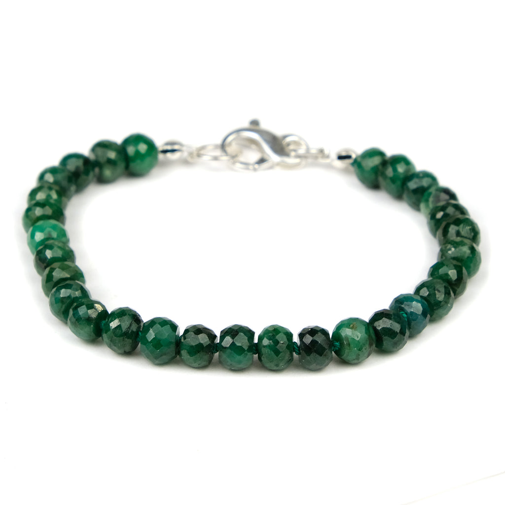 Emerald Bracelet Knotted on Silk Cord with Sterling Silver Lobster Claw Clasp