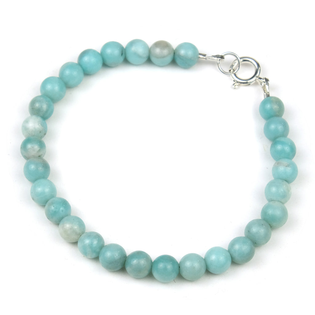 Amazonite Bracelet with Sterling Silver Spring Clasp