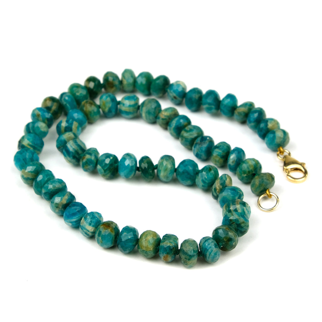 Amazonite Knotted Necklace with Gold Filled Trigger Clasp
