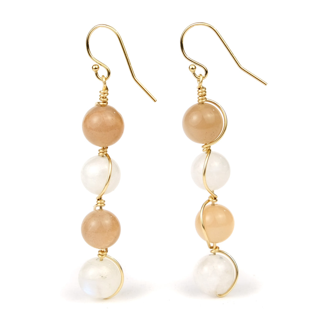 Moonstone Earrings with Gold Filled French Ear Wires