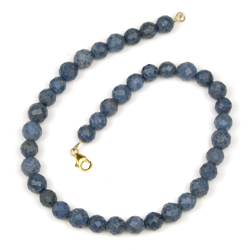 Blue Coral Faceted Round Necklace with Gold Filled Trigger Clasp