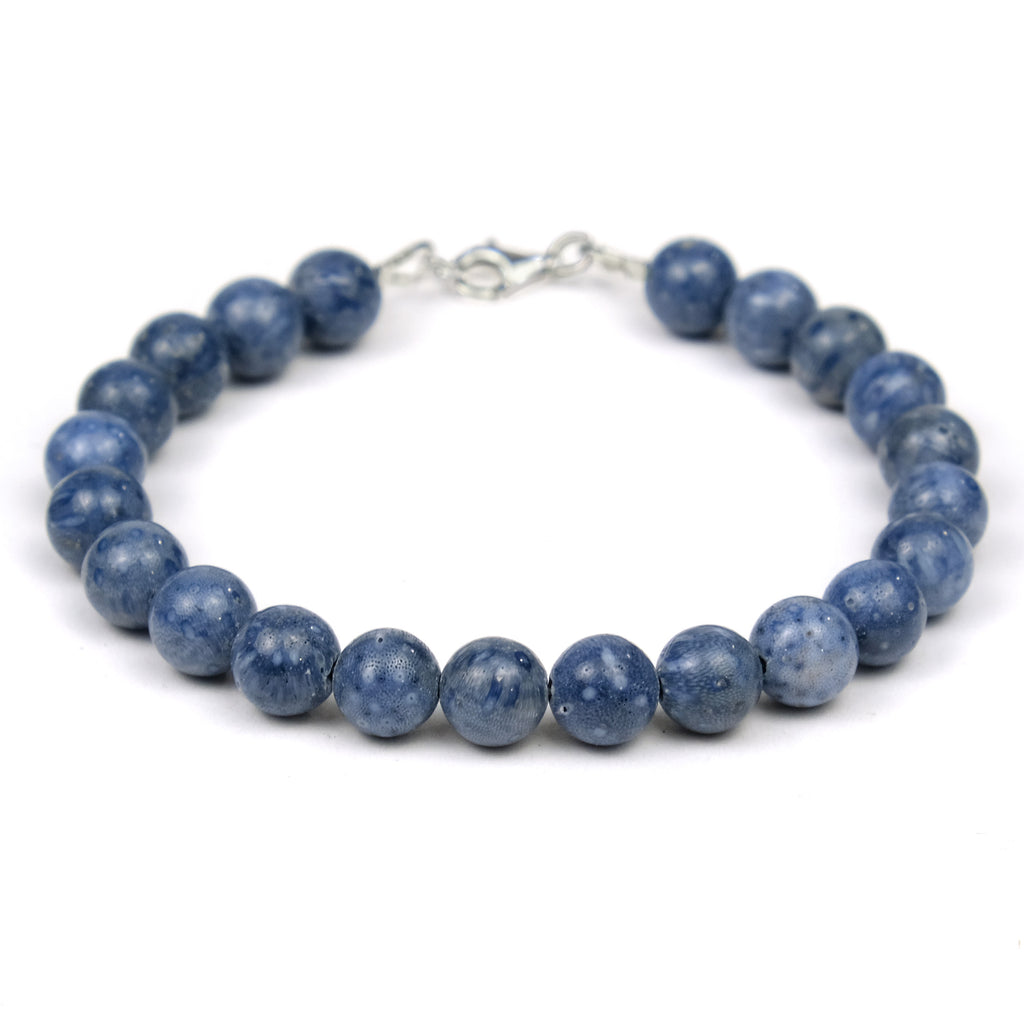 Blue Coral Bracelet with Sterling Silver Trigger Clasp