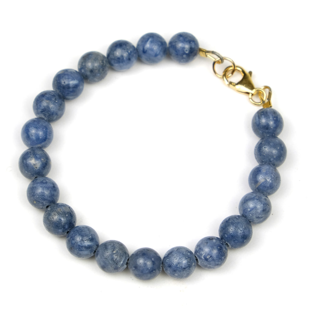 Blue Coral Bracelet with Gold Filled Trigger Clasp