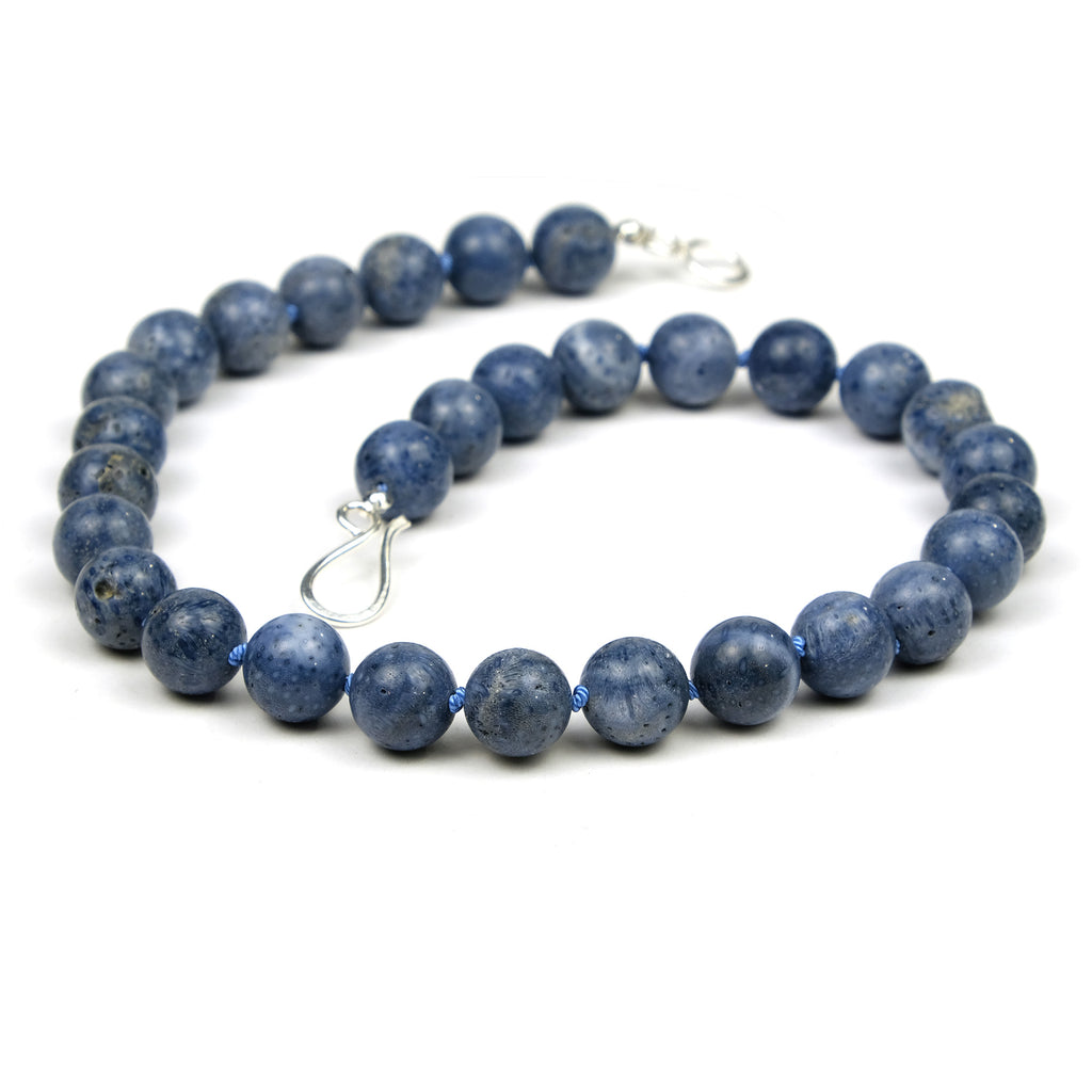 Blue Coral Knotted Necklace with Sterling Silver Clasp