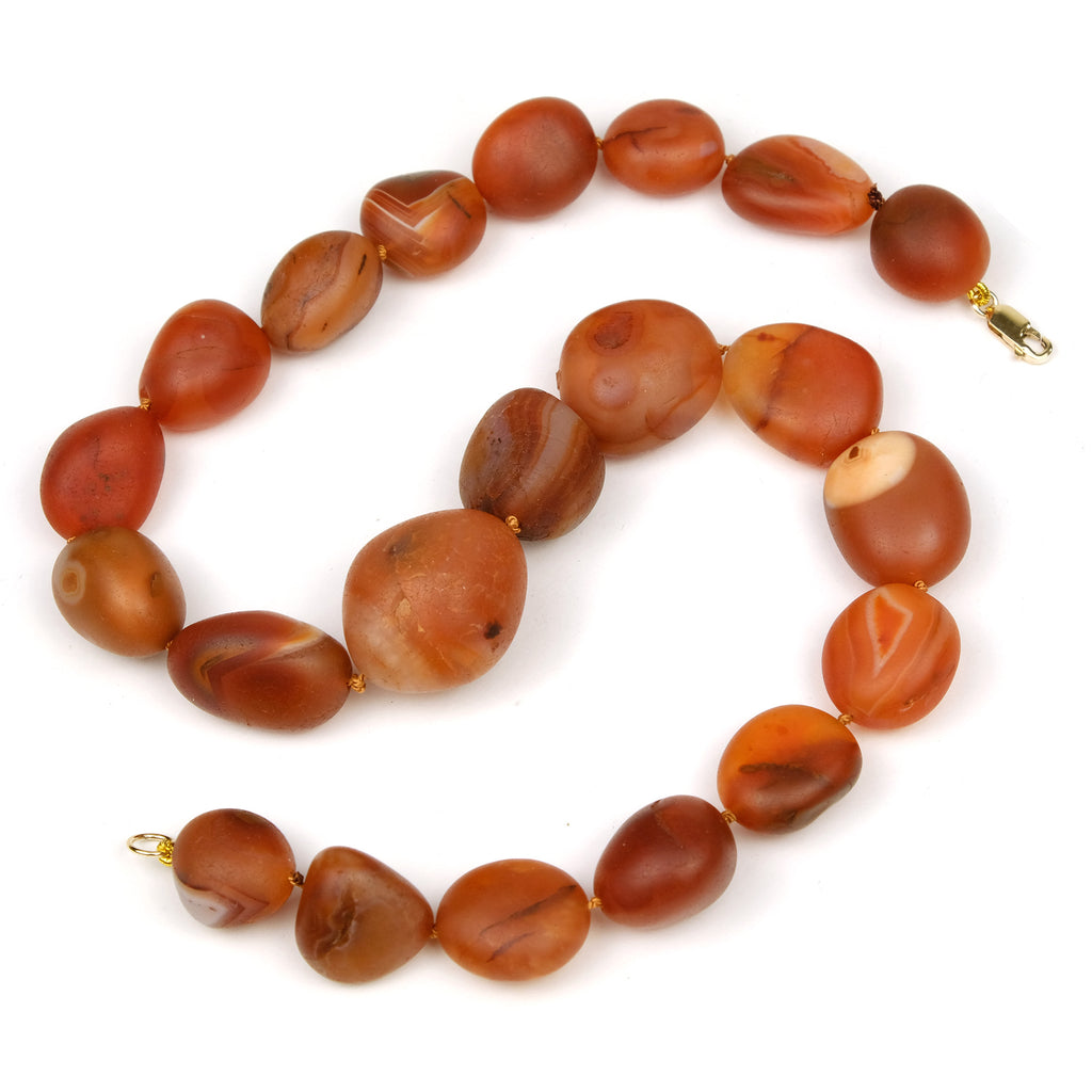 Carnelian Knotted Necklace with Gold Filled Lobster Claw Clasp