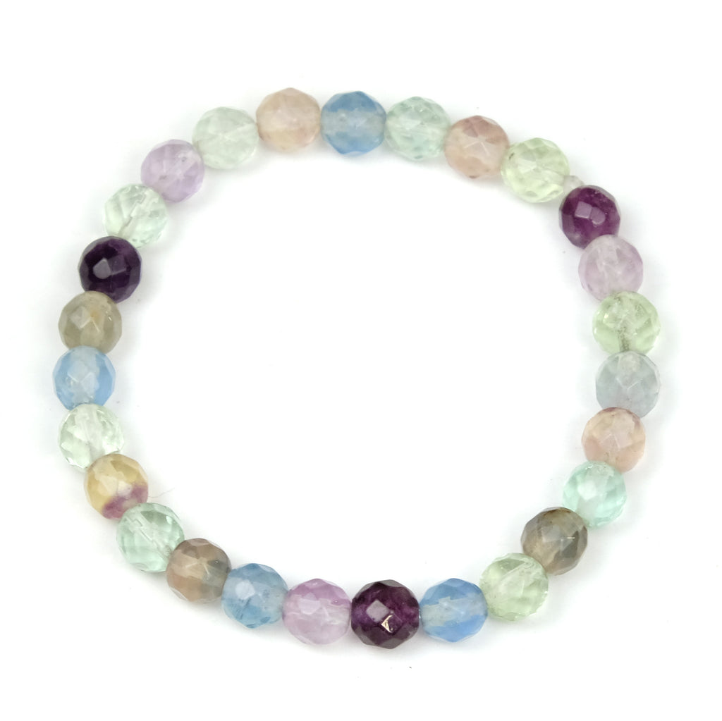 Fluorite Faceted Round Stretch Bracelet