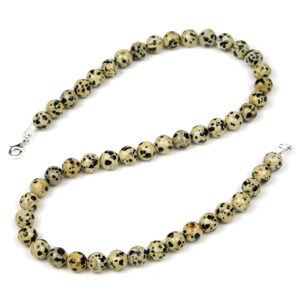 Dalmatian Jasper Necklace with Sterling Silver Trigger Clasp