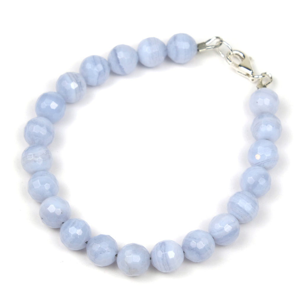 Blue Lace Agate Bracelet with Sterling Silver Trigger Clasp