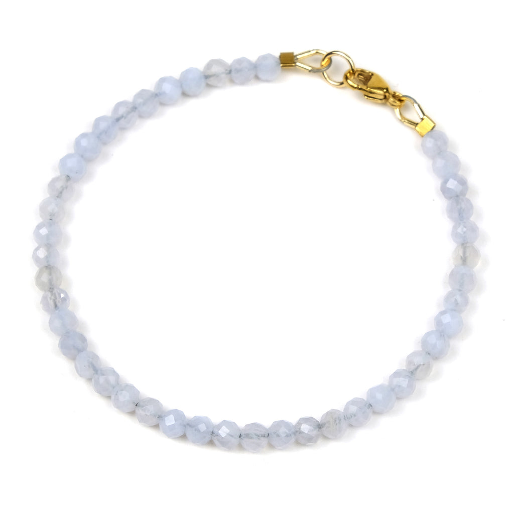 Blue Lace Agate Bracelet with Gold Filled Trigger Clasp