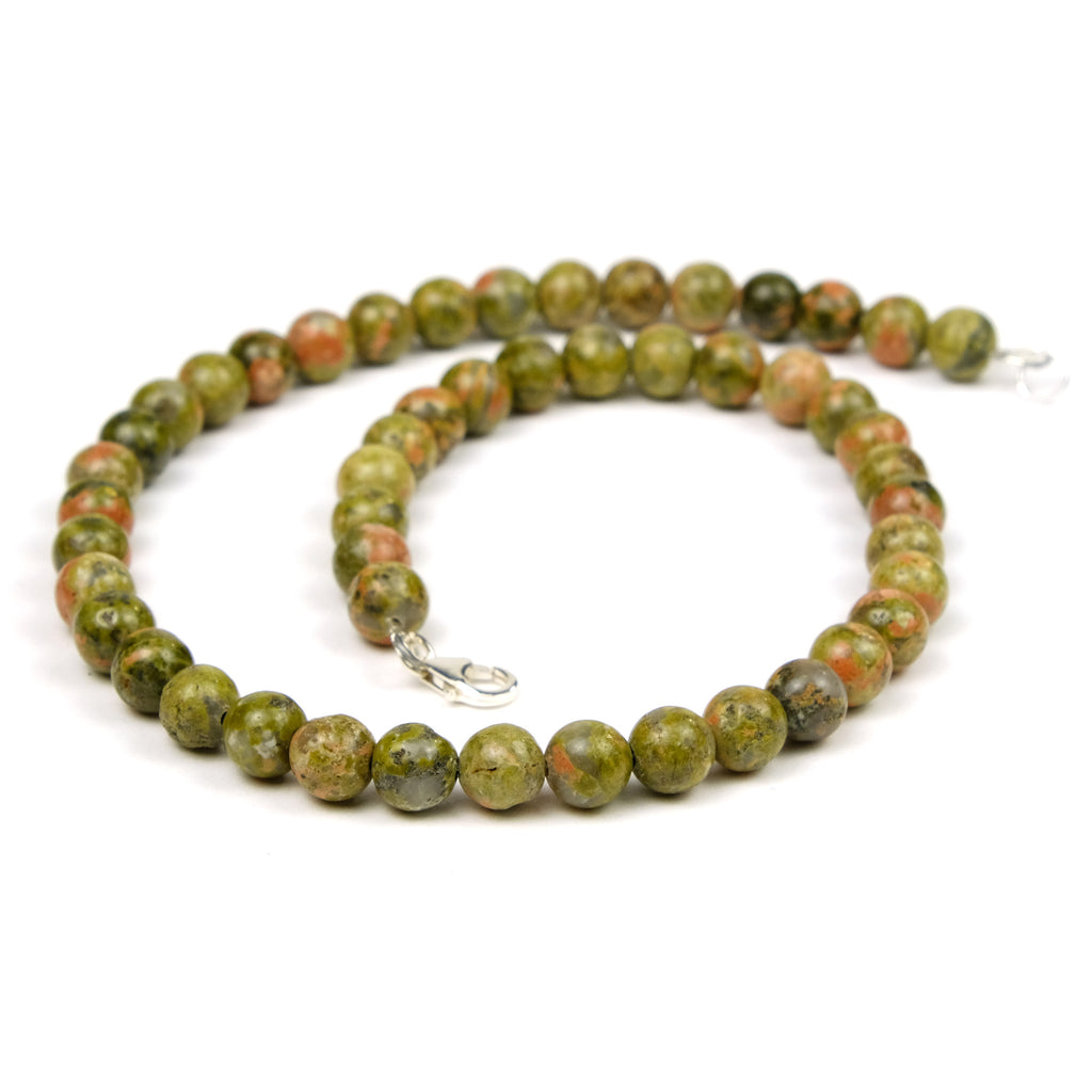 Unakite Jasper Necklace with Sterling Silver Trigger Clasp