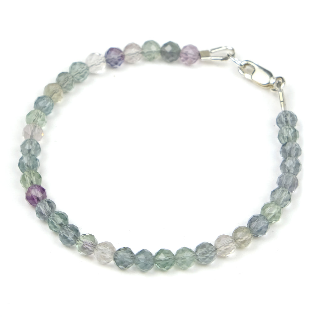 Fluorite Bracelet with Sterling Silver Lobster Claw Clasp