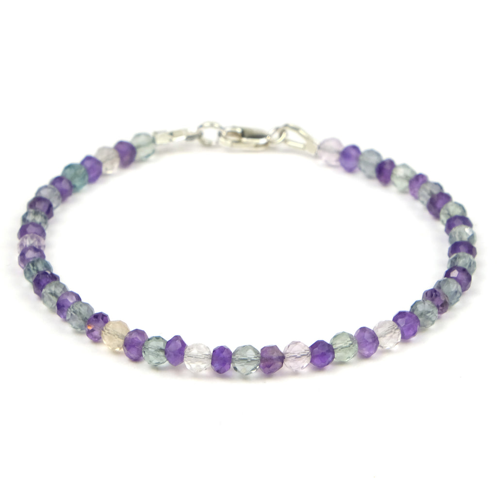 Fluorite + Amethyst Bracelet with Sterling Silver Lobster Claw Clasp