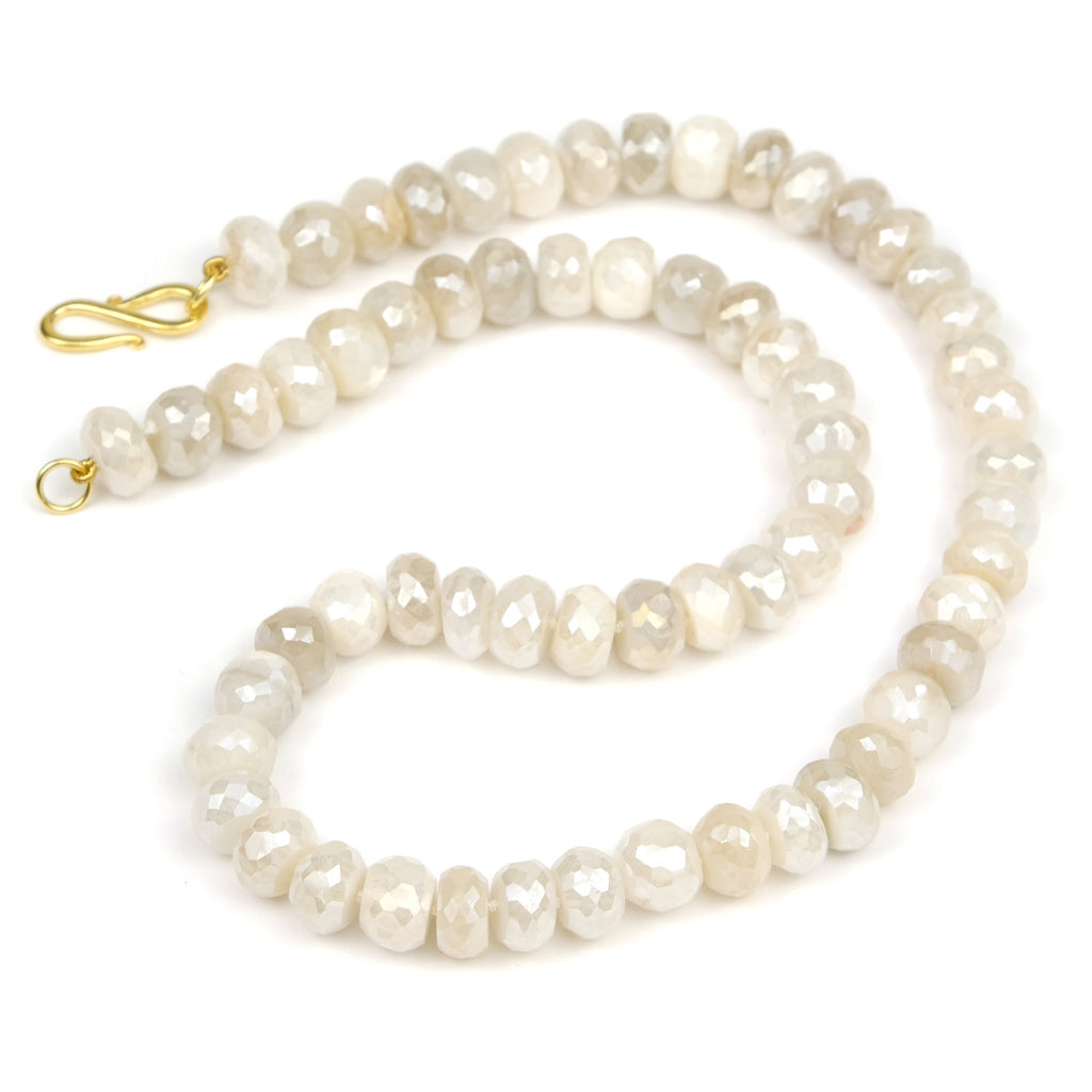 Mystic White Moonstone Knotted Necklace with Gold Plated S Hook Clasp