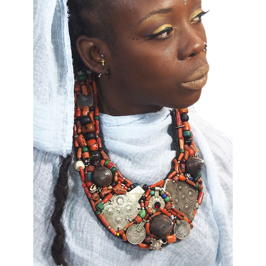 Berber Heirloom Coral/Silver Bib, B