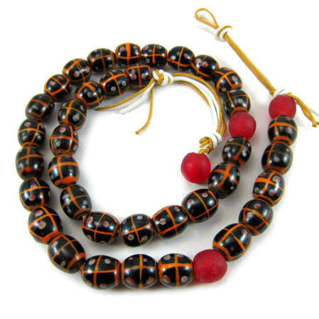 Hand Wound/Hand Inlaid Java Glass Bead Necklace/Strand