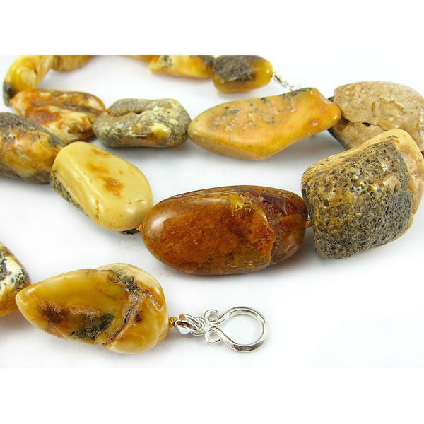 19th Century Raw Baltic Amber Nugget Strand/Necklace from Tibet 1