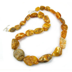 19th Century Raw Baltic Amber Nugget Strand/Necklace from Tibet 2