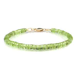 Peridot Faceted Bracelet with Gold Filled Lobster Clasp