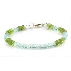 Aquamarine and Peridot Bracelet with Sterling Silver Trigger Clasp