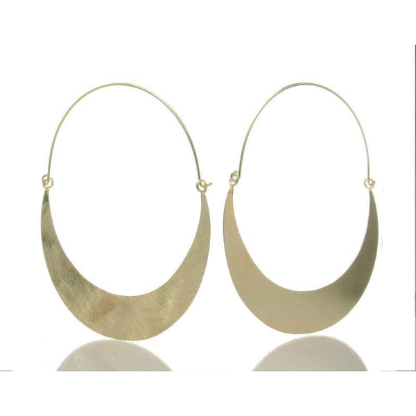Gold Plated Over Sterling Silver Brushed Quarter Moon Earrings