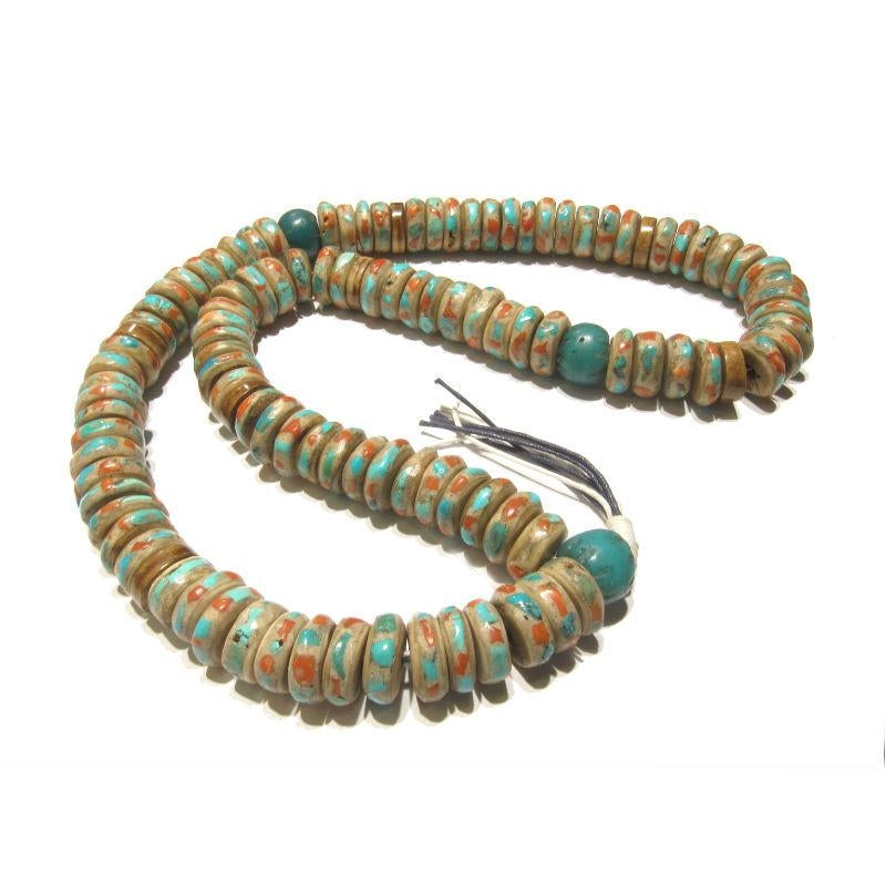 Turquoise and Coral Inlaid 22 MM Yak Bone Mala with 18th Century Chinese Trade Beads